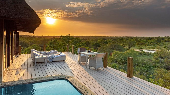 Leopard Hills Private Game Reserve suite deck with pool overlooking the bush plains