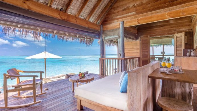 Gili Lankanfushi villa suite bedroom looking out to ocean