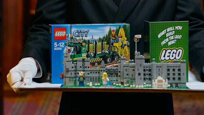 Lego box set delivered on a silver platter at the Ashford Castle