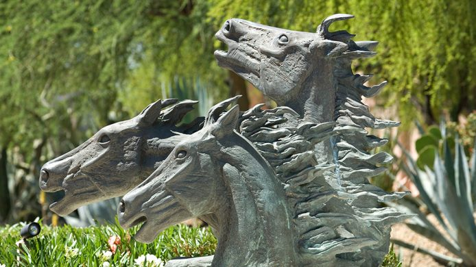 Mustang statues in garden of The Phoenician hotel