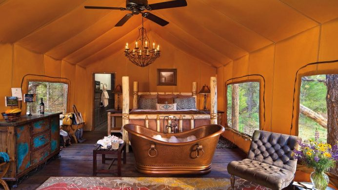 Copper tub inside luxury tent at The Resort at Paws Up