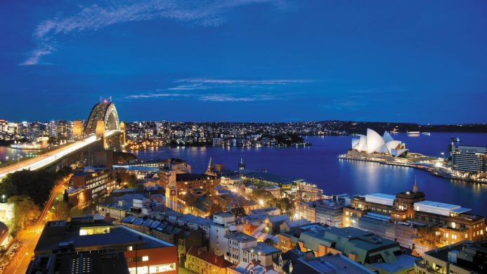 View of Opera House and Harbour Bridge from Shangri-La Hotel, Sydney