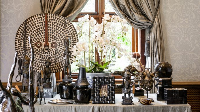 Singita boutique shop table holding home decor