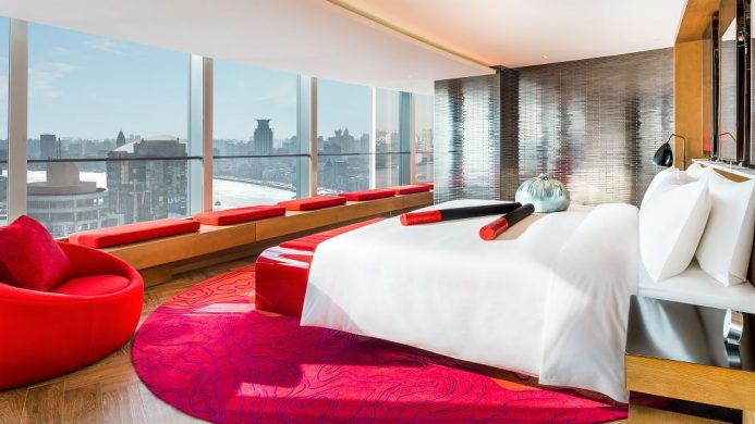 W Shanghai - The Bund's Fantastic Suite with dumpling and chopsticks pillows on bed