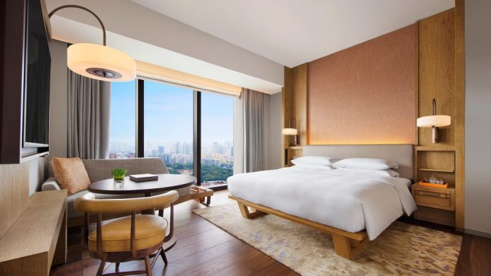 Andaz Singapore's king bedroom with city view