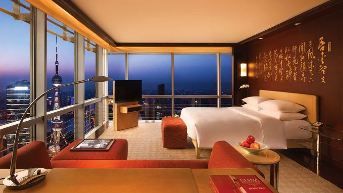 Grand Hyatt Shanghai's Deluxe Riverview Room with corner view of the Bund