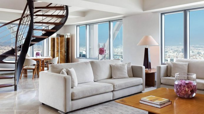 Penthouse suite with spiral staircase at the Hotel Arts Barcelona