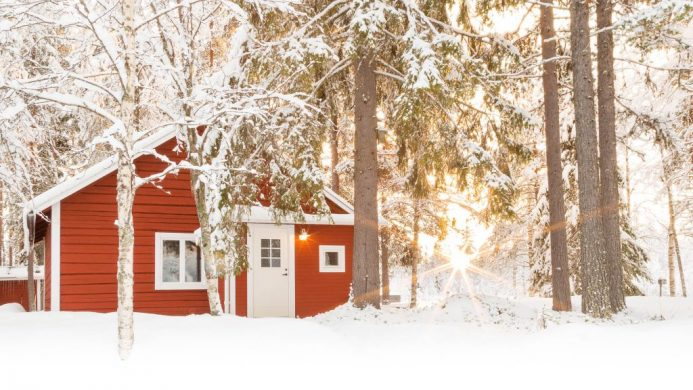 Loggers Lodge's red cabin in the woods covered in snow