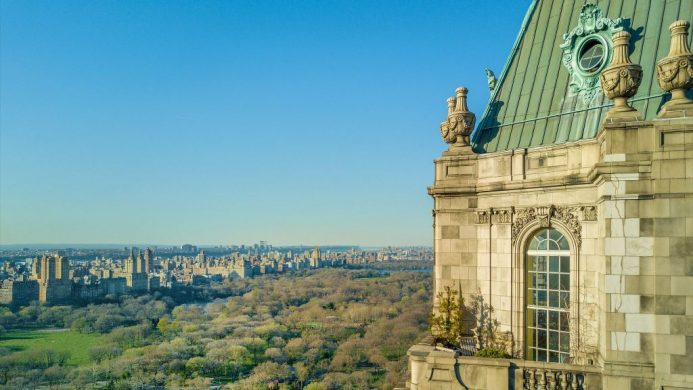 Exterior roof of The Pierre, A Taj Hotel, New York in front of Central Park
