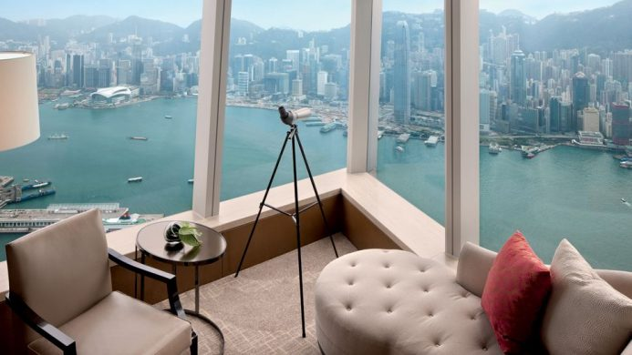 Ritz-Carlton, Hong Kong's corner window aerial view of Victoria Harbour