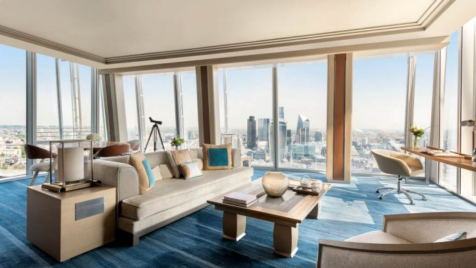 Shangri-La Hotel, At the Shard's suite lounge with view of the city
