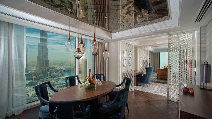 Taj Dubai's suite dining room with view of the Burj Khalifa