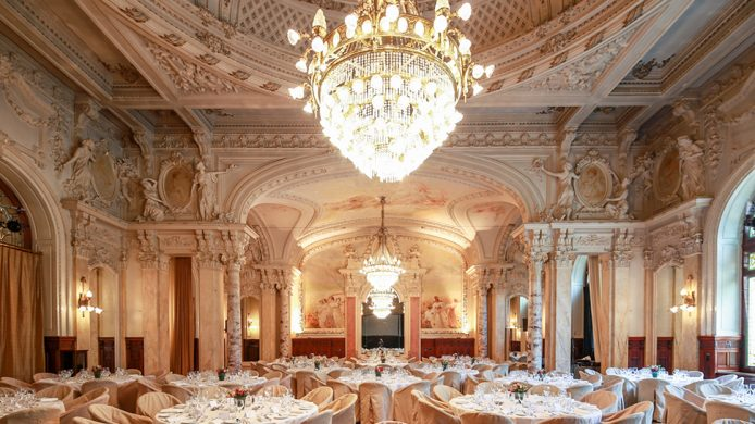 Beau-Rivage Palace Sandoz Ballroom with an intricate carved stucco ceiling