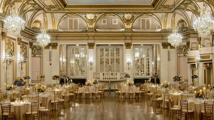 Fairmont Copley Plaza, Boston's Grand Ballroom with hanging chandeliers and a gilded ceiling