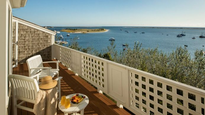 Breakfast on the balcony overlooking sail boats on Cape Cod at Chatham Bars Inn