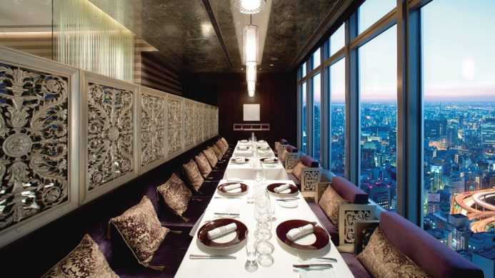 Mandarin Oriental Tokyo's Signature Restaurant dining table overlooking the city